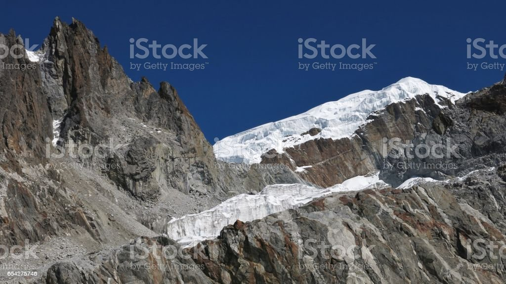 Landscape near Cho La mountain pass stock photo