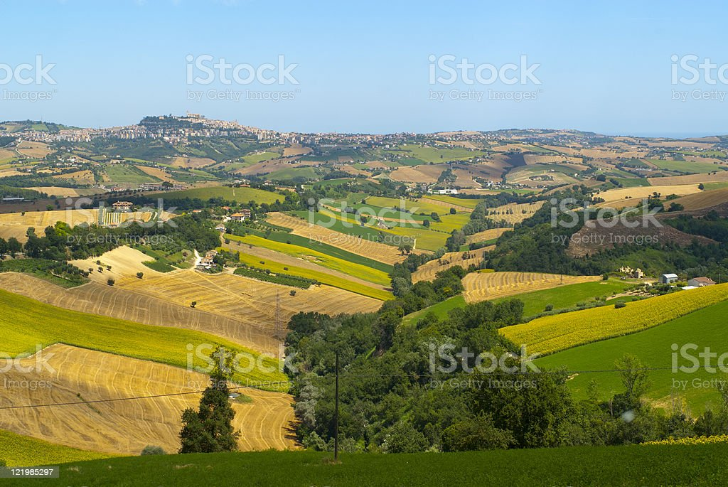 Landscape near Fermo (Marches, Italy) at summer royalty-free stock photo