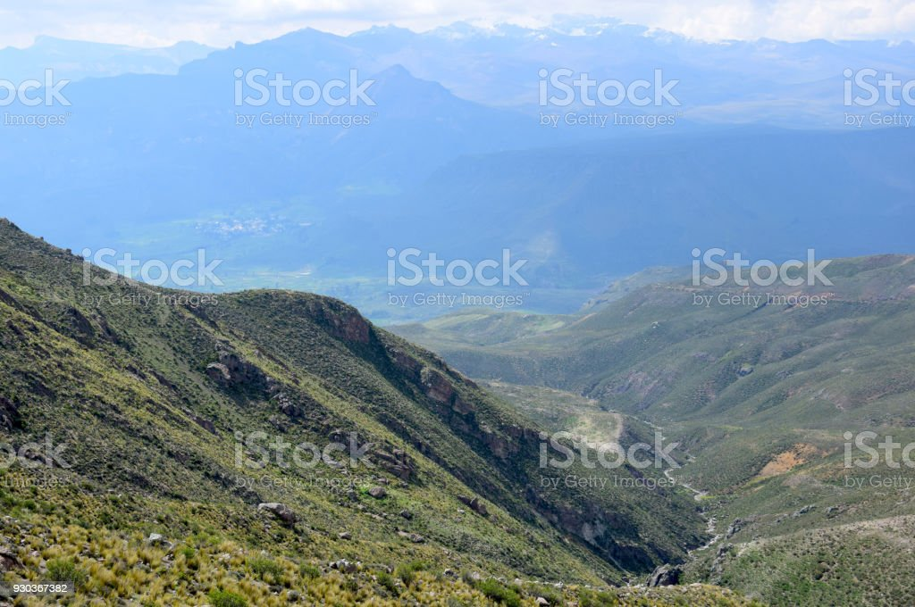 Landscape near the Colca canyon stock photo