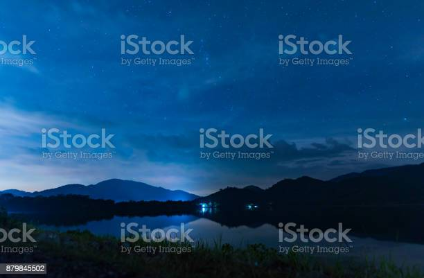 Photo of landscape night sky over the lake