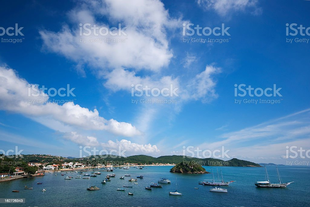 landscape ocean sky with boats stock photo