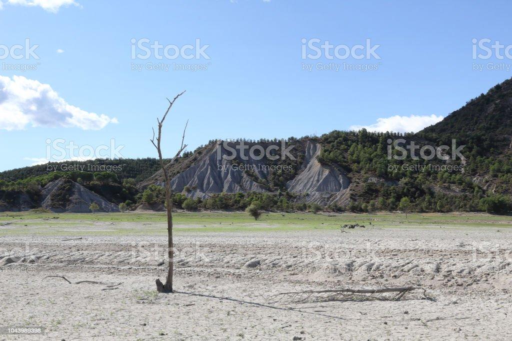 Un paisaje de un deadwood está parado en un suelo de arcilla gris agrietado seco durante un día asoleado caliente, con montañas al fondo, en el lago artificial del Mediano en el Pirineo Aragonés Español - foto de stock