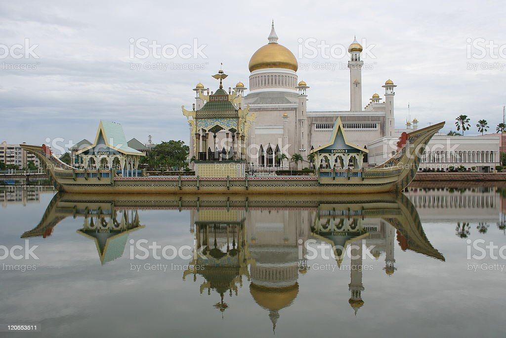 Landscape of a floating mosque in Brunei royalty-free stock photo