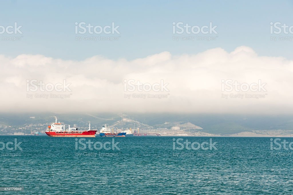Landscape of a harbour with a clouds stock photo