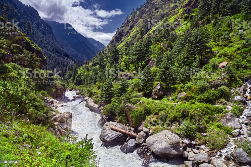 Landscape of a mountain river with traditional nature of Kullu valley. Naggar, Himachal Pradesh. North India. stock photo