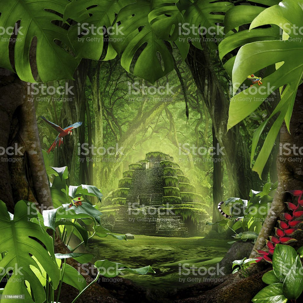Landscape of a temple hiding in the jungle with wildlife stock photo