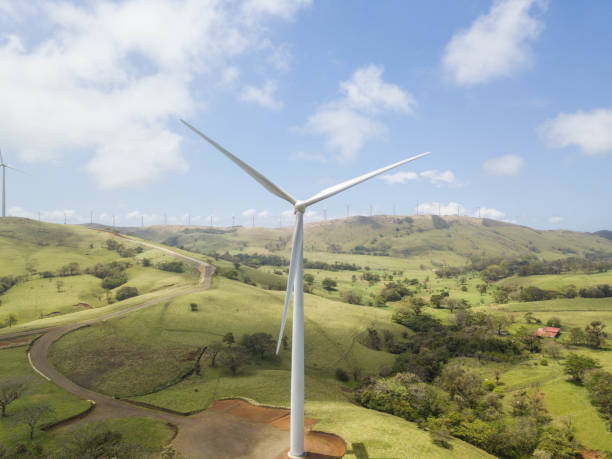 Landscape of a valley with wind turbine. Green power in Costa Rica stock photo