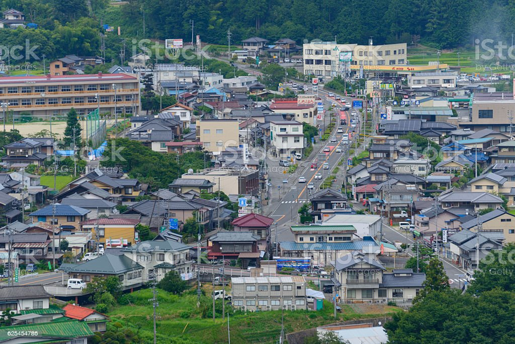 Landscape of Achi village in Nagano, Japan stock photo