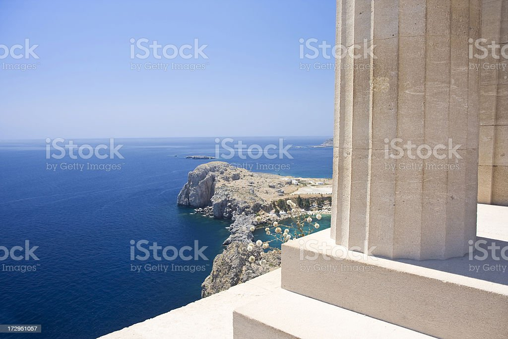 Landscape of Acropolis in Rhodes stock photo