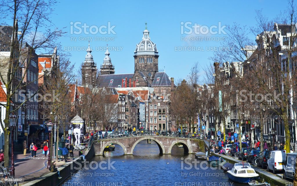 landscape of Amsterdam city - canals and houses Holland - Royalty-free Adult Stock Photo