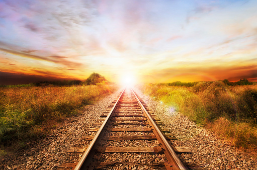 Landscape of an old abandoned railway at the sunrise.