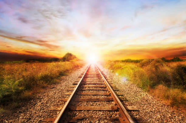 Landscape of an old abandoned railway at the sunrise. Landscape of an old abandoned railway at the sunrise. Sunny summer day. tramway stock pictures, royalty-free photos & images