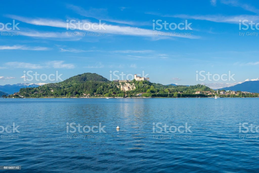 Landscape of Angera Castle on Maggiore Lake, Lombardy, italy stock photo