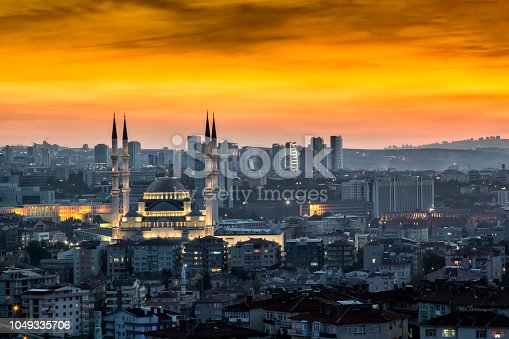 Landscape of Ankara at sunset. Kocatepe mosque is on foreground.Eskisehir road and high buildings are on background.