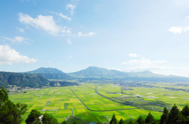 landscape of Aso area in Japan landscape of Aso area in Japan land feature stock pictures, royalty-free photos & images