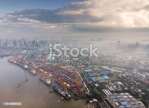 istock Landscape of Bangkok from above, warehouses and factories on the riverside on the Chao Phraya River, Thailand 1294889933