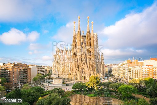 istock Landscape of Barcelona city from the roof top of hotal with travel point in church and park 1029265170