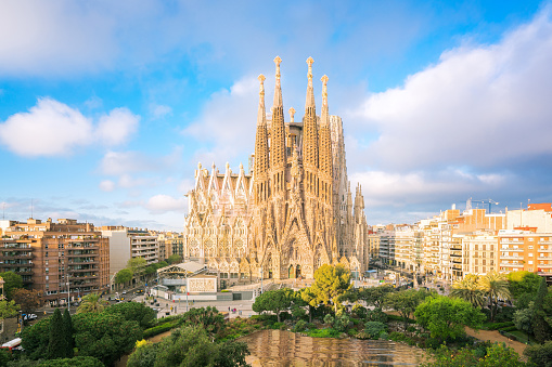 Landscape of Barcelona city from the roof top of hotal with travel point in church and park