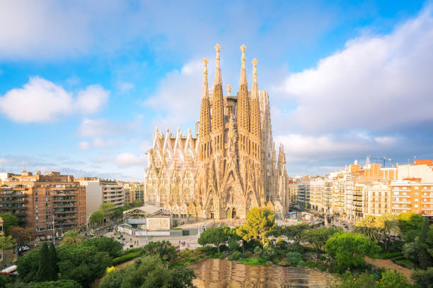 Landscape of Barcelona city from the roof top of hotal with travel point in church and park stock photo