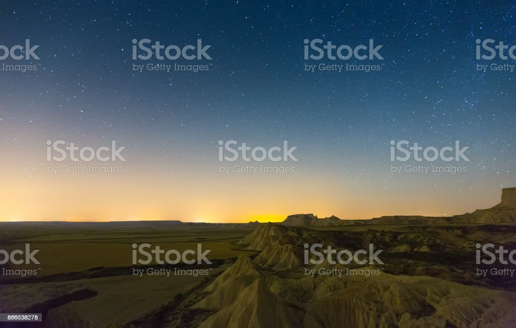 landscape of bardenas reales natural park in  night stock photo