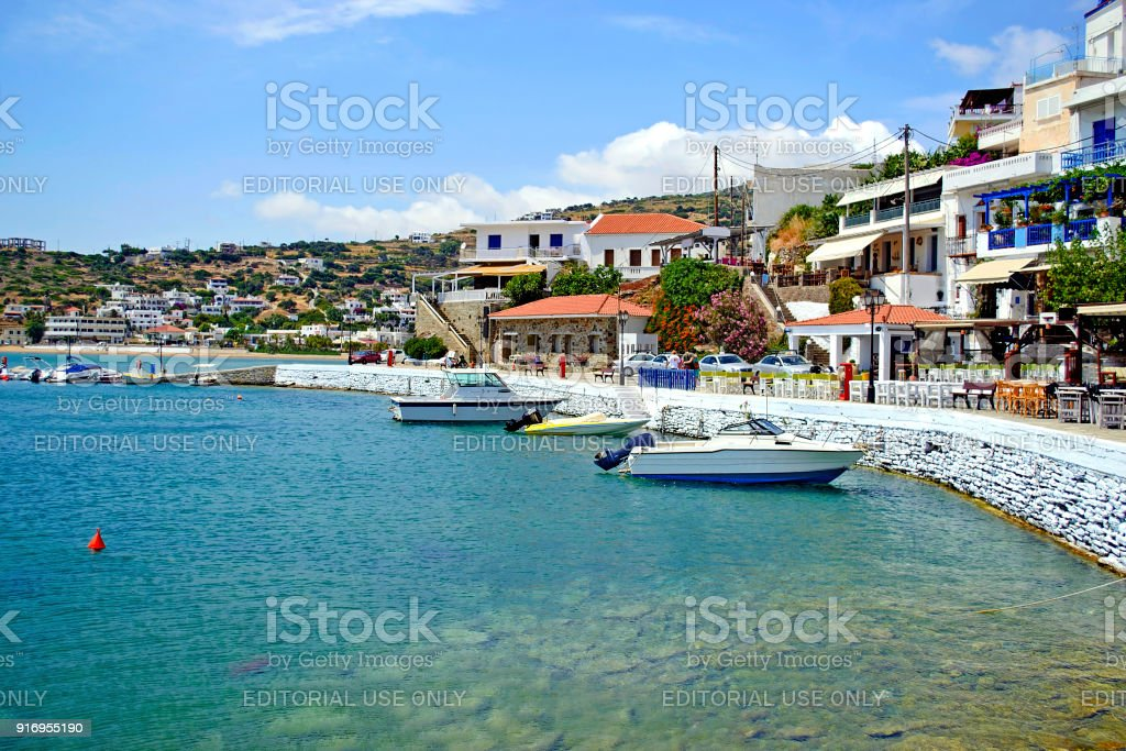 landscape of Batsi in Andros island Cyclades Greece stock photo