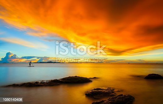 Landscape of paradise tropical island beach at sunset in Pattaya,Thailand.