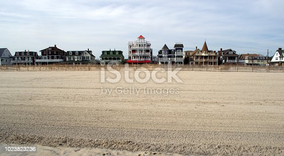 Beach Street, Cape May NJ.  Landscape view of the hotels, motels, mansions of a by gone era.  Americana.  Retro/vintage vibe.  Old Fashioned American Vacation.  Very popular in the 1940s and 1950s.  It is still a very popular tourist destination today.