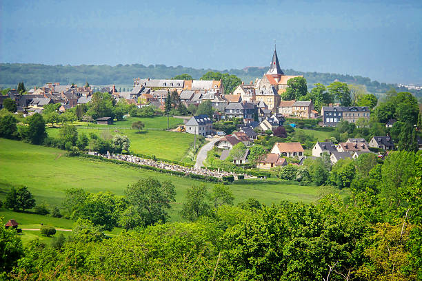 Landscape of Beaumont en Auge in Normandy, France Landscape of Beaumont en Auge in Normandy, France normandy stock pictures, royalty-free photos & images