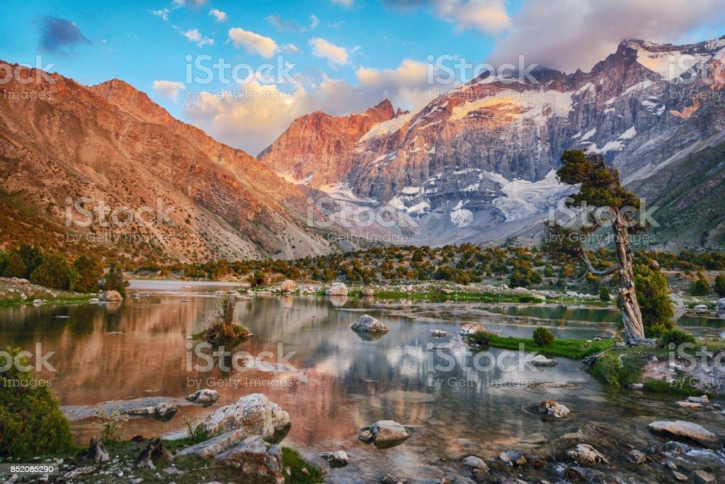 Landscape of beautiful Fan mountains and Kulikalon lake stock photo