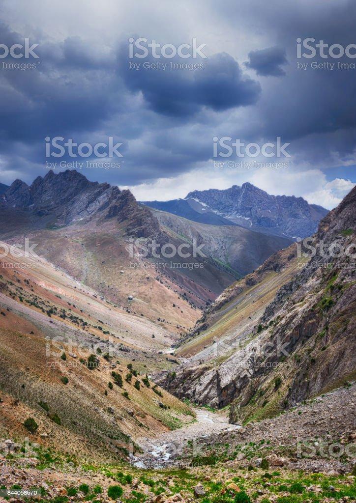 Landscape of beautiful high Fan mountains stock photo