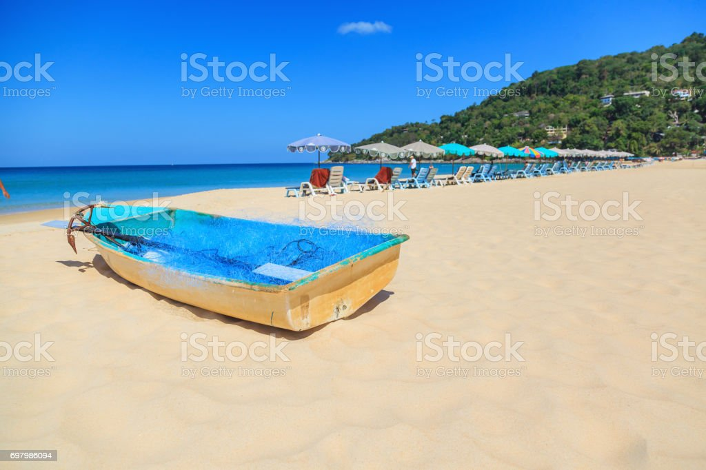 Landscape of beautiful Patong Beach with blue sky background at  Phuket stock photo