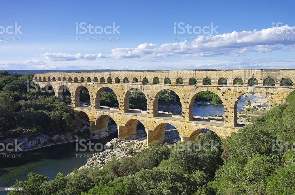 Landscape of Bridge and water banks at the Pont du Gard stock photo