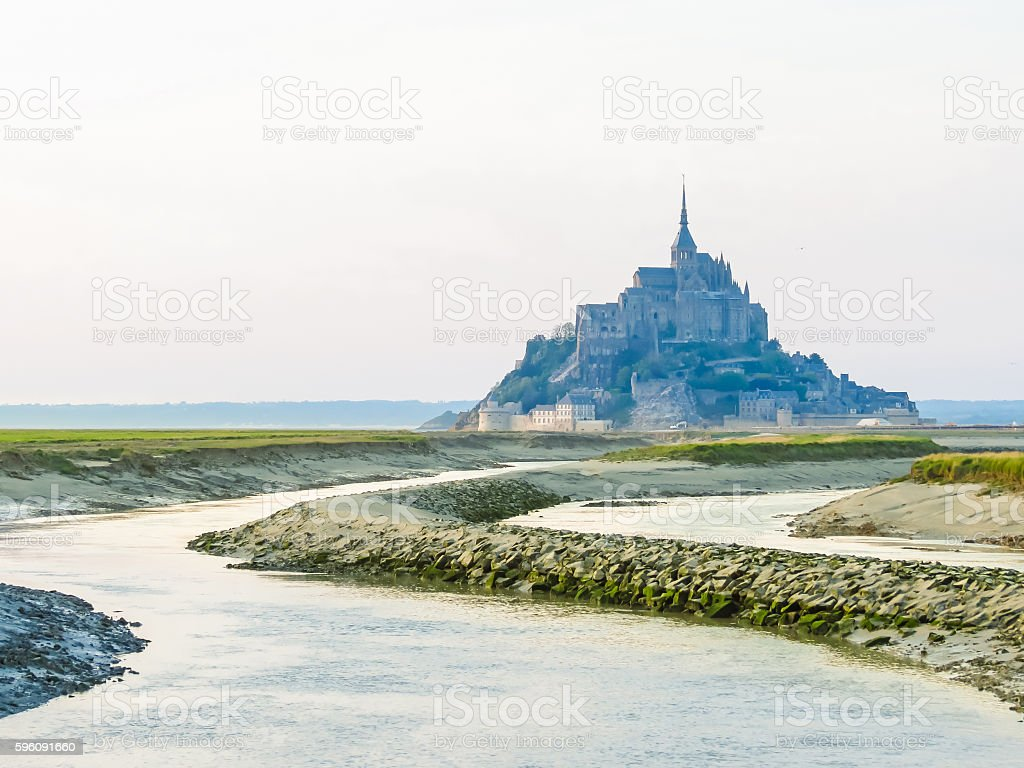 Landscape of Brittany and Mont Saint-Michel, France royalty-free stock photo
