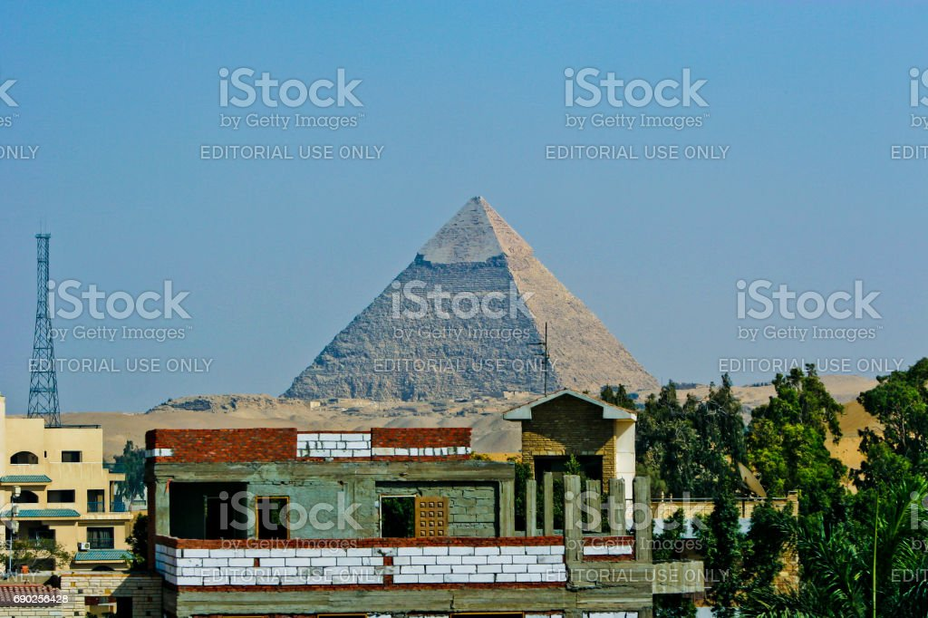 Landscape of Cairo, Egypt with the Giza pyramids behind stock photo