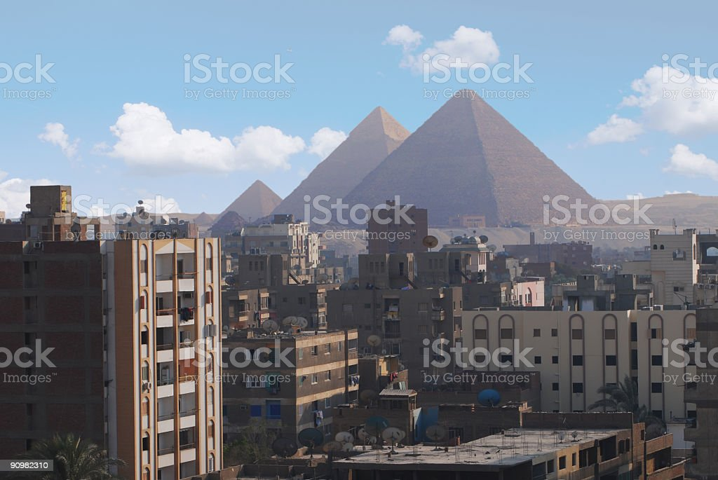 Landscape of Cairo, Egypt with the Giza pyramids behind royalty-free stock photo