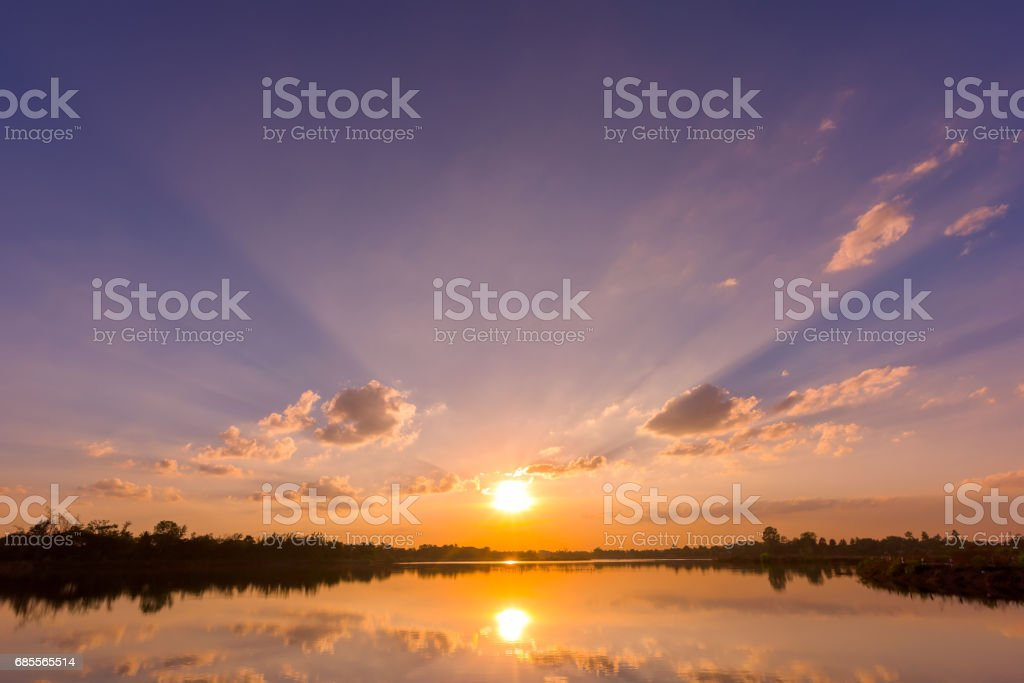 Landscape of calm lake at sunset royalty-free 스톡 사진
