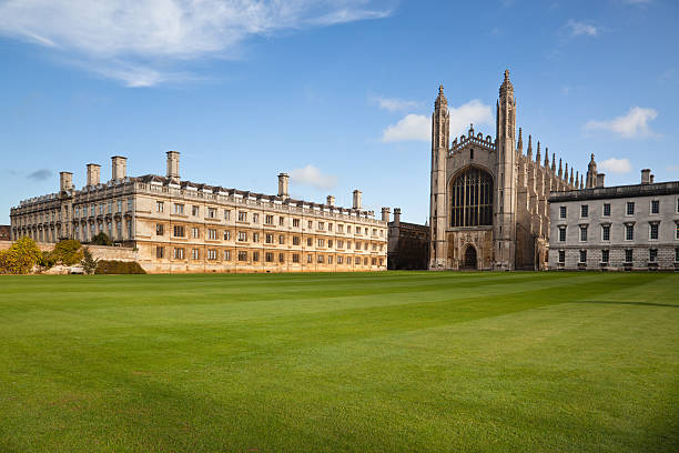 landscape of cambridge university and kings college chapel - cambridge university stock photos and pictures