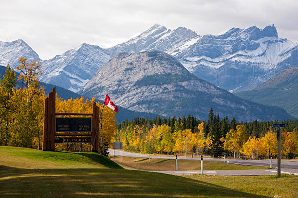 Landscape of Canadian snowy Rockies stock photo