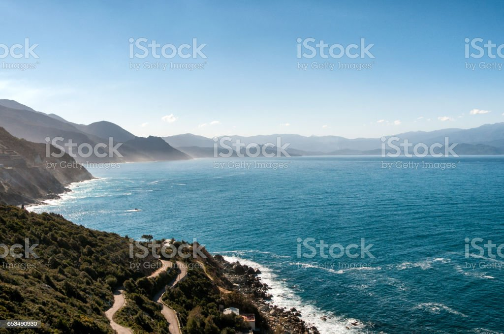 paysage du  cap Corse stock photo