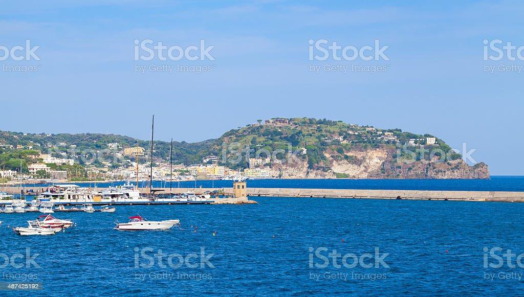 Landscape of Casamicciola Terme port, Ischia stock photo