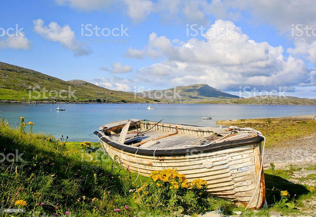 Landscape of Castlebay, Barra, Scotland, UK. stock photo