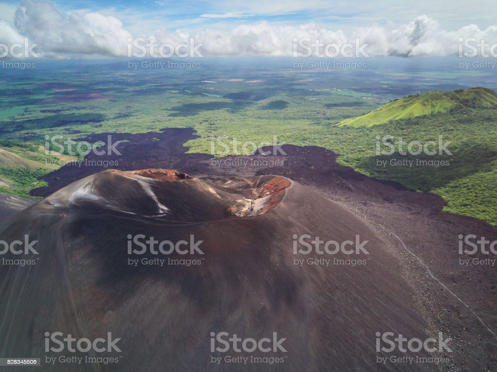 Landscape of Cerro Negro volcano stock photo