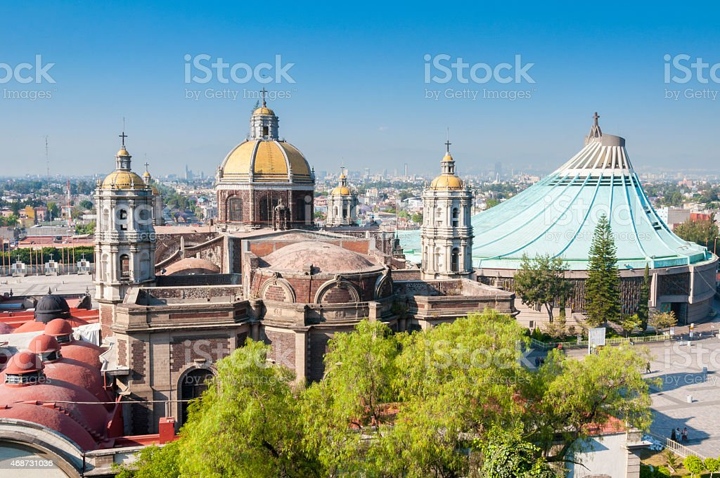 Landscape of Church of Our Lady of Guadalupe, Mexico City stock photo