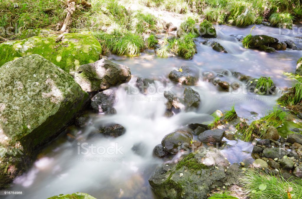 landscape of clear stream stock photo