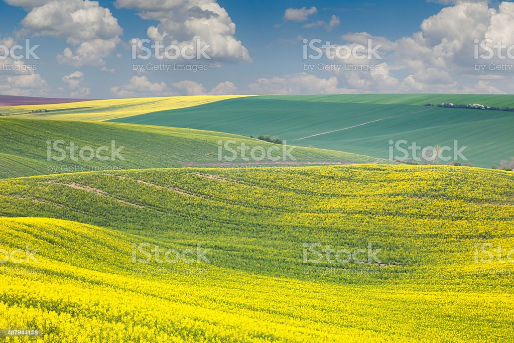 Landscape of colorful hills, springtime beautiful day stock photo