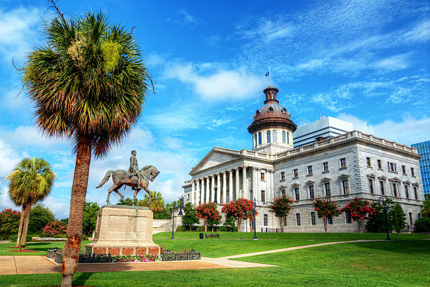 Landscape of colorful South Carolina State House The South Carolina State House in Columbia. HDR. south carolina stock pictures, royalty-free photos & images