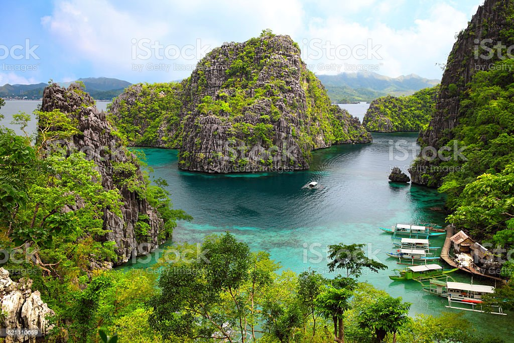 landscape of Coron, Busuanga island, Palawan province, Philippines stock photo