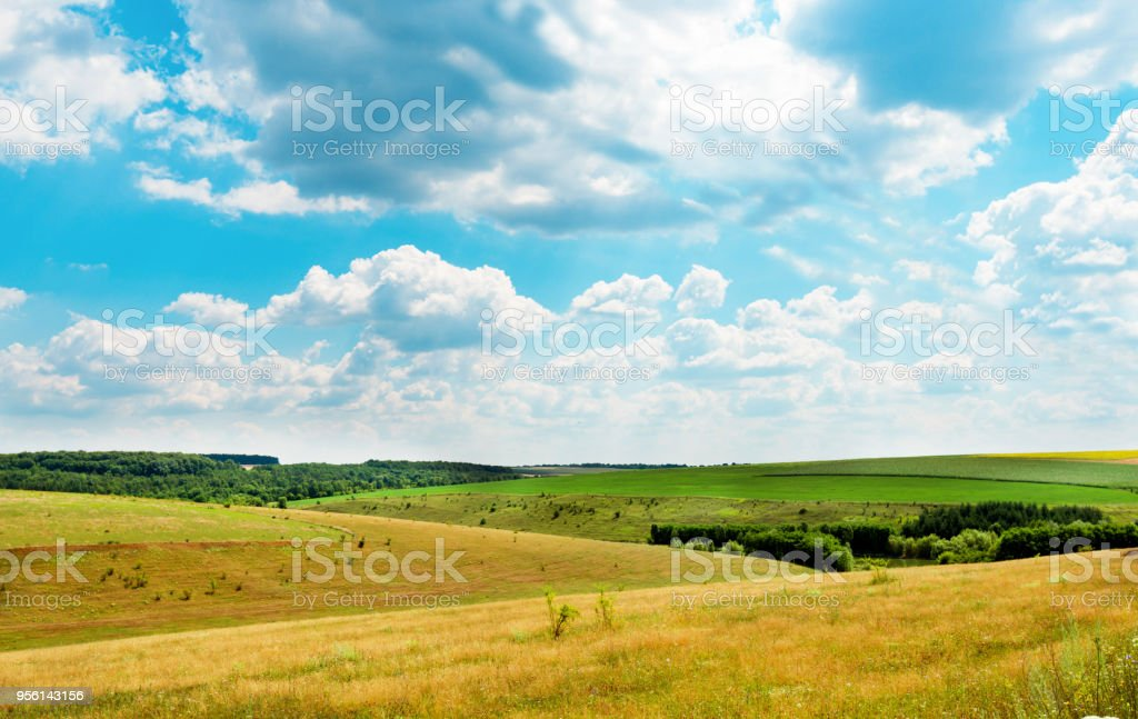 landscape of countryside with fields stock photo