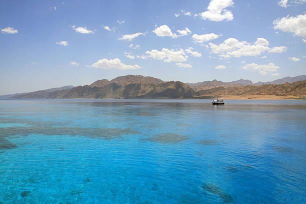Landscape of Dahab lagoon. Egypt. Red Sea. stock photo