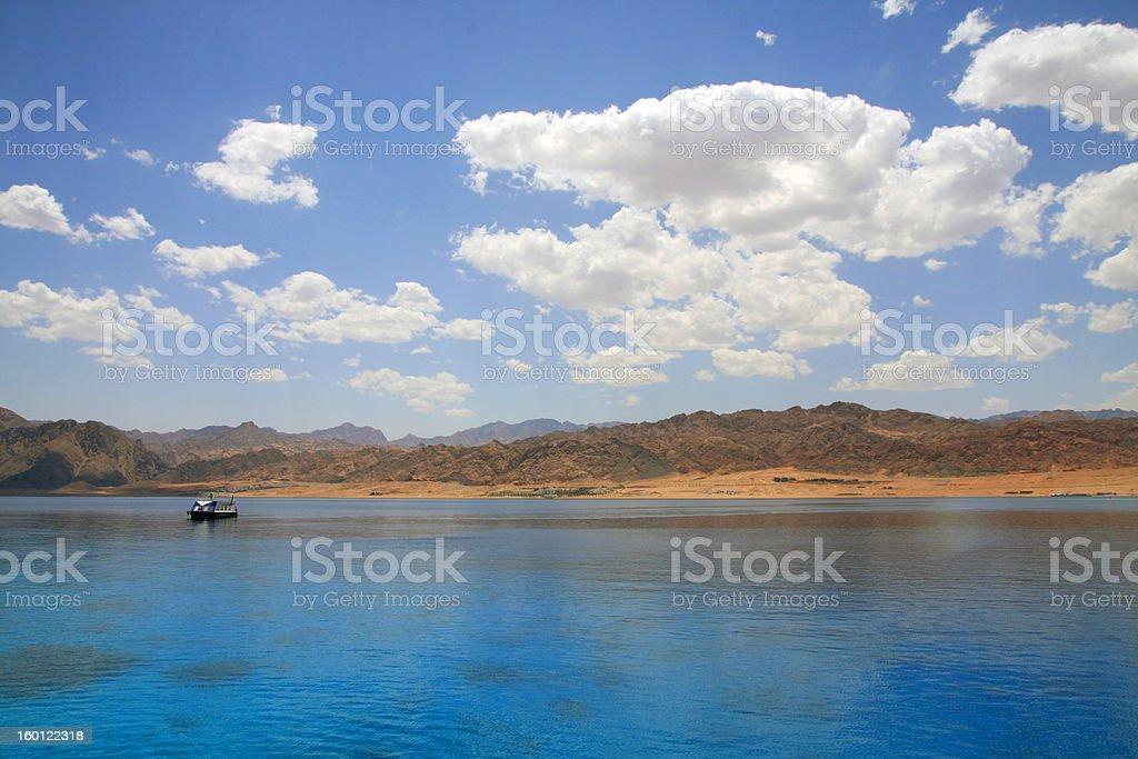 Landscape of Dahab lagoon. Egypt. Red Sea. Sunny day. stock photo